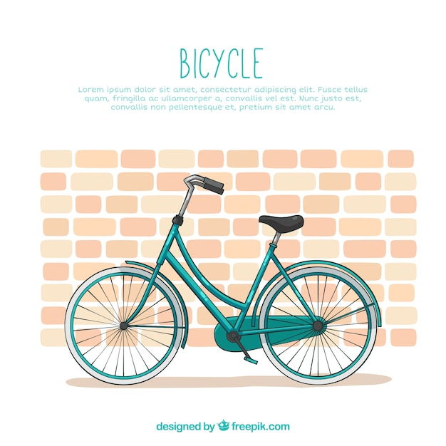 Classic bike with brick wall Free Vector