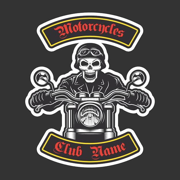 재킷을위한 클래식 바이커 자수. 오토바이 테마 무료 벡터