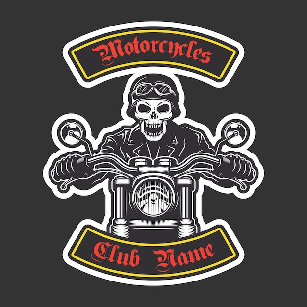 Classic biker embroidery for jacket. motorcycle theme Free Vector