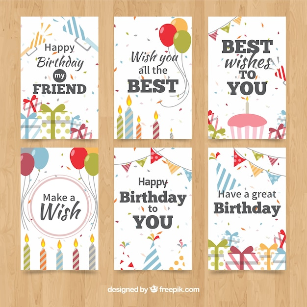 Classic birthday cards collection Vector – Birthday Card Collection