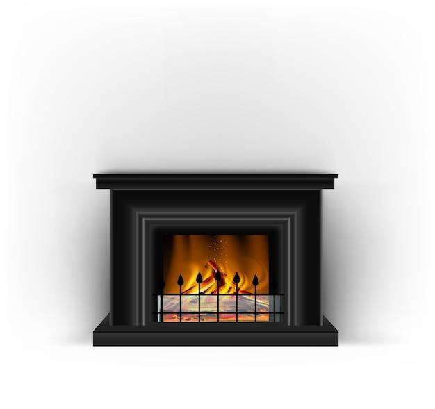 砂浜のインテリアデザインのための燃える火が付いている古典的な黒い暖炉 Premiumベクター