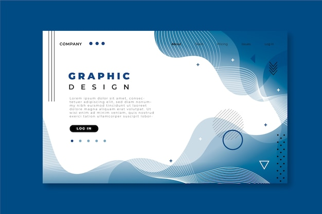 Classic blue abstract landing page template Free Vector