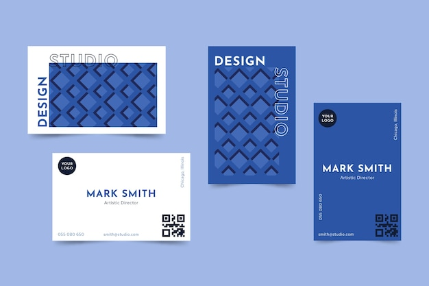 Classic blue business card template concept Free Vector