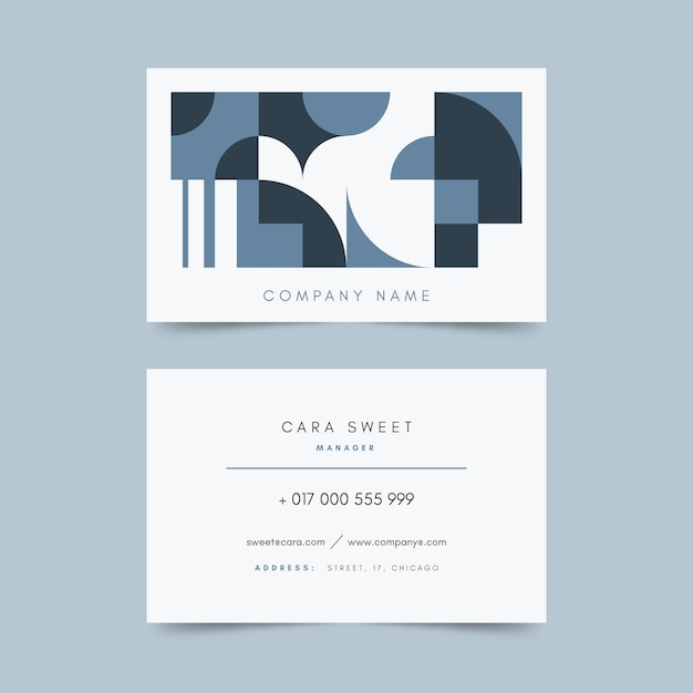 Classic blue business card template style Free Vector