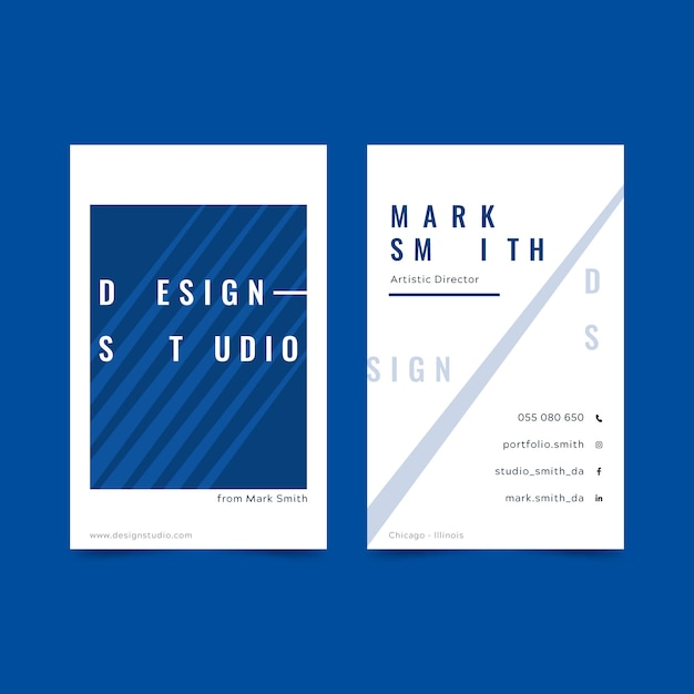Classic blue business card template theme Free Vector