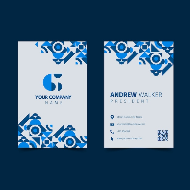 Classic blue business card Free Vector