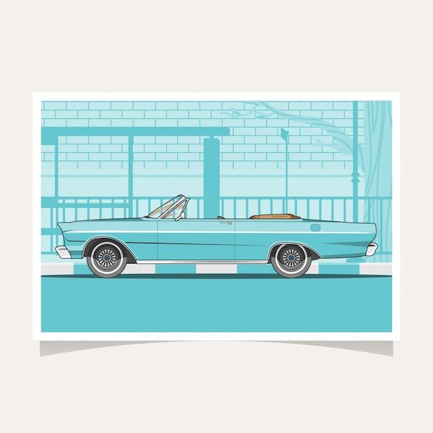 Classic blue car conceptual design flat illustration vector Premium Vector