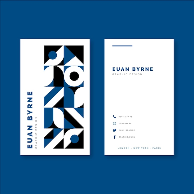 Classic blue color geometric business card Free Vector