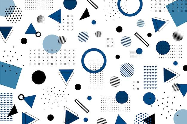Classic blue flat geometric shapes background Free Vector