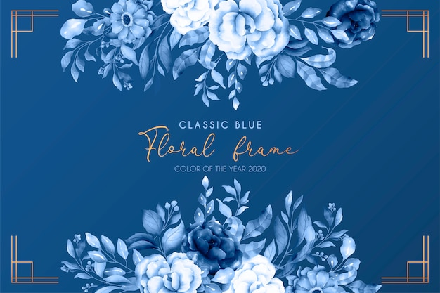 Classic blue floral background Free Vector