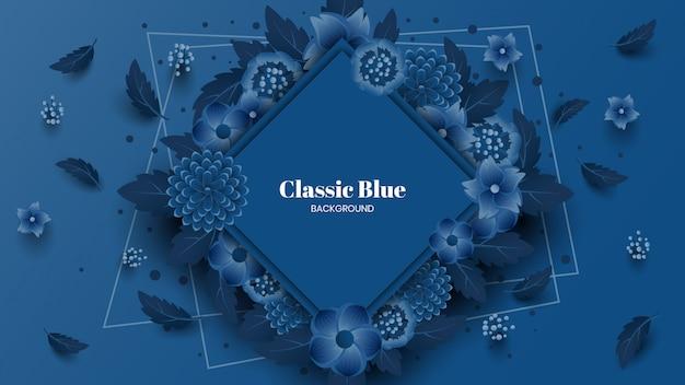 Classic blue flowers background Premium Vector