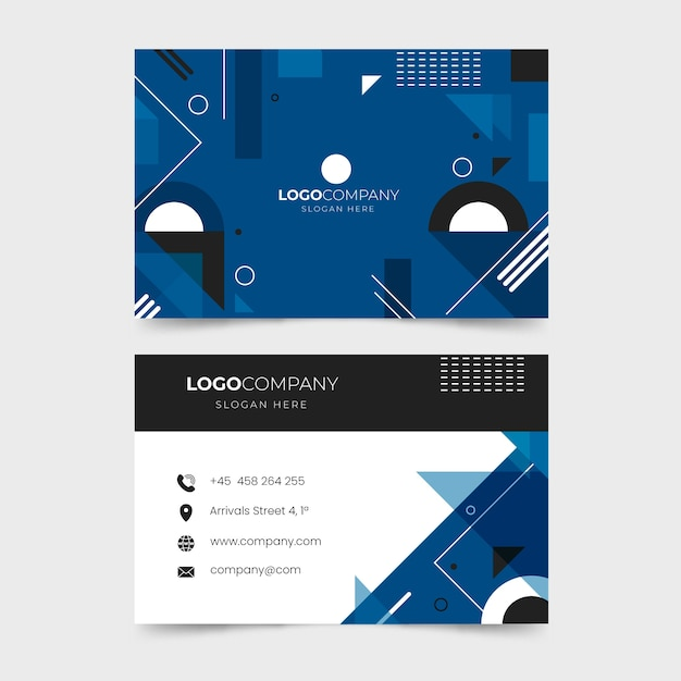 Classic blue geometric business card Free Vector