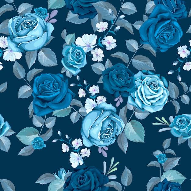 꽃과 함께 클래식 블루 원활한 패턴 무료 벡터