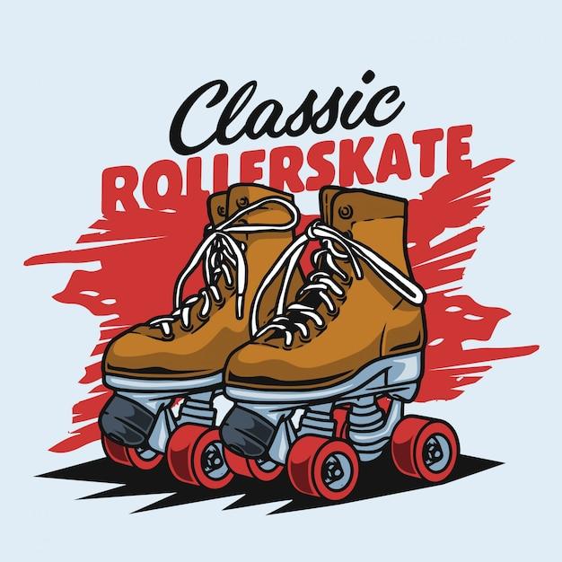 Classic brown rollerskate Premium Vector