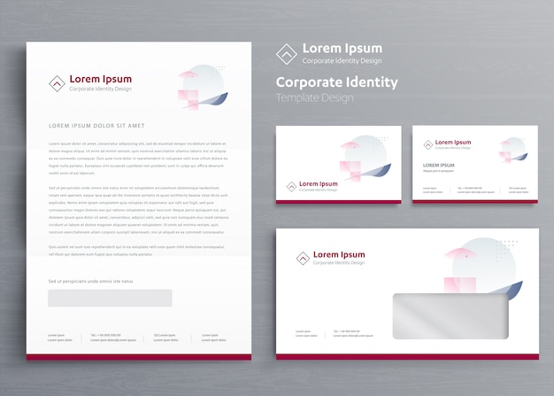 Classic business stationery corporate identity Premium Vector