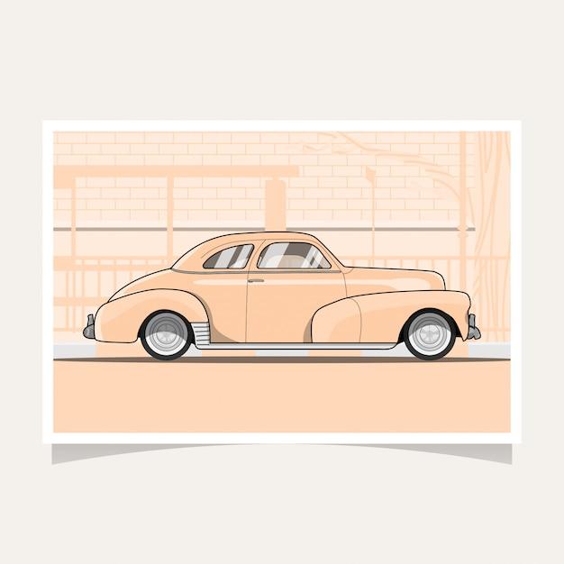 Classic car conceptual design flat illustration vector Premium Vector