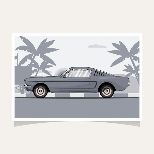 Classic car conceptual design flat illustration vector Premium Vector