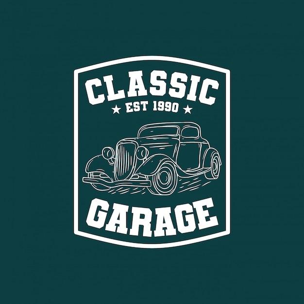 Classic car garage badge logo Premium Vector