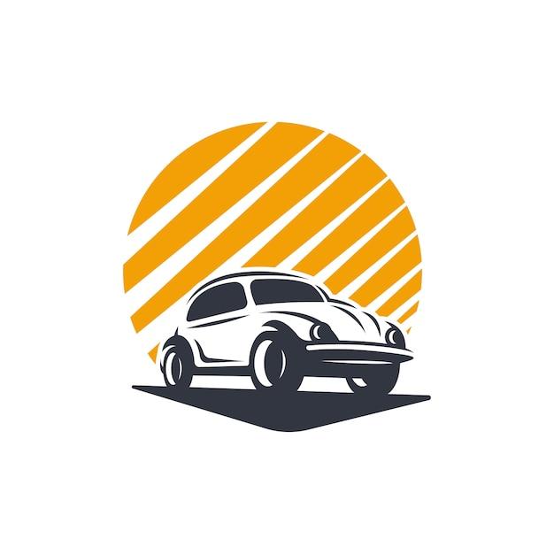 Classic car logo silhouette Premium Vector