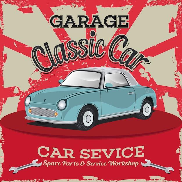 クラシックカー修理工場、車のベクトル図 Premiumベクター