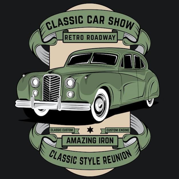 Classic car show Premium Vector