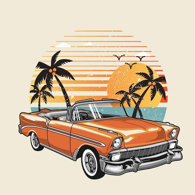 Classic car on the summer beach Premium Vector