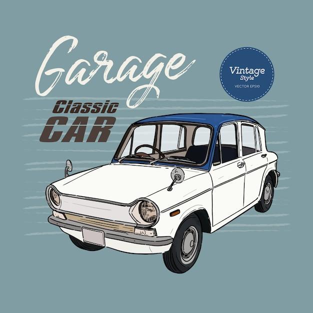 Classic car, vintage style. hand draw sketch vector. Premium Vector