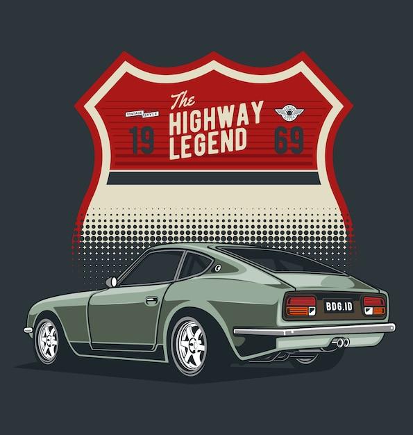 Classic car with badge Premium Vector