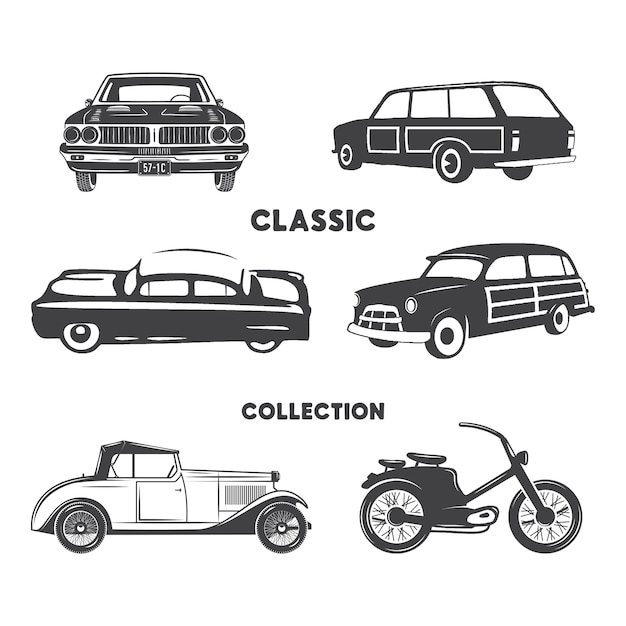 Classic Cars Silhouette Set Vintage Cars And Motorcycle Shapes