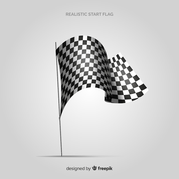 Classic checkered flag with realistic design Free Vector