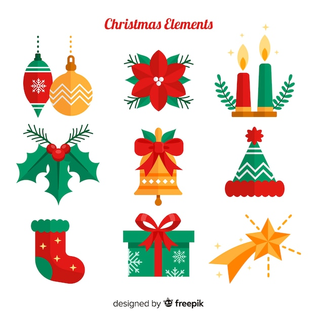 Classic christmas element collection with flat design Free Vector