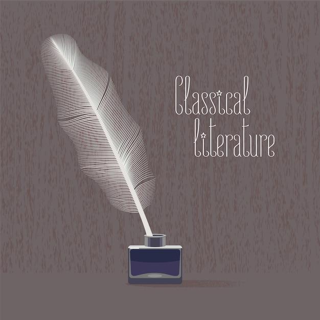 Классическая, классическая литература векторная иллюстрация с птичьим пером и тушью Premium векторы