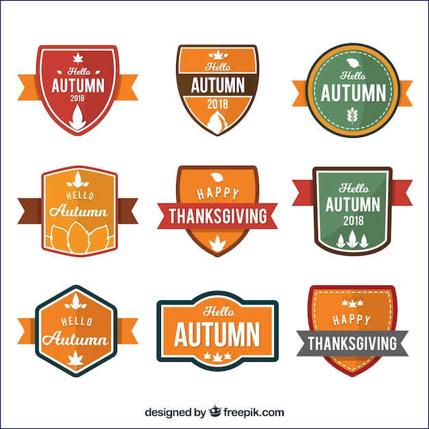 Classic collection of colorful autumn badges