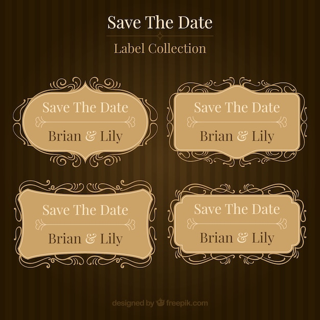 Classic collection of vintage wedding labels