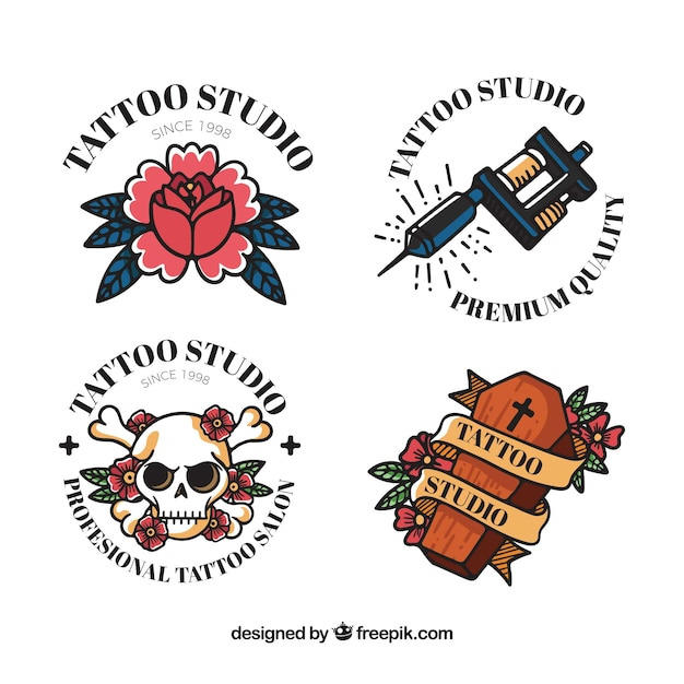 Classic coloured tattoo logo collecti Free Vector