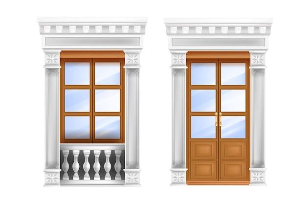 Классическая дверь, традиционный римский двойной вход, балюстрада, мраморное портальное окно, изолированное на белом. Premium векторы