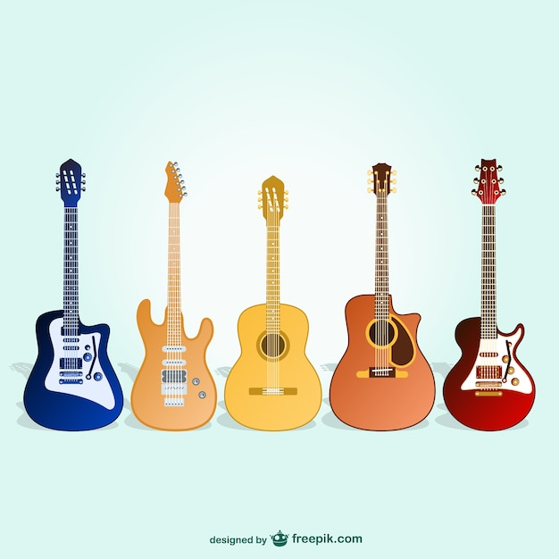 Classic and electric guitars Free Vector