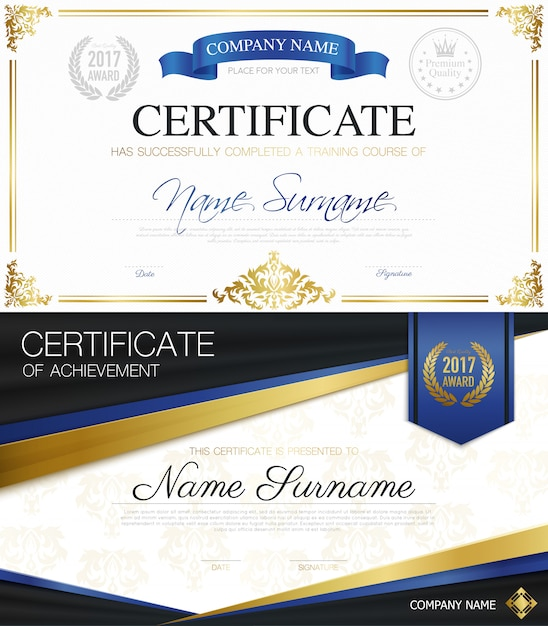 Classic elegant certificates collection Free Vector