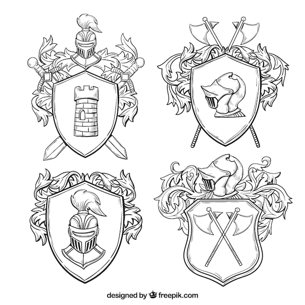 Classic emblems of knights Free Vector