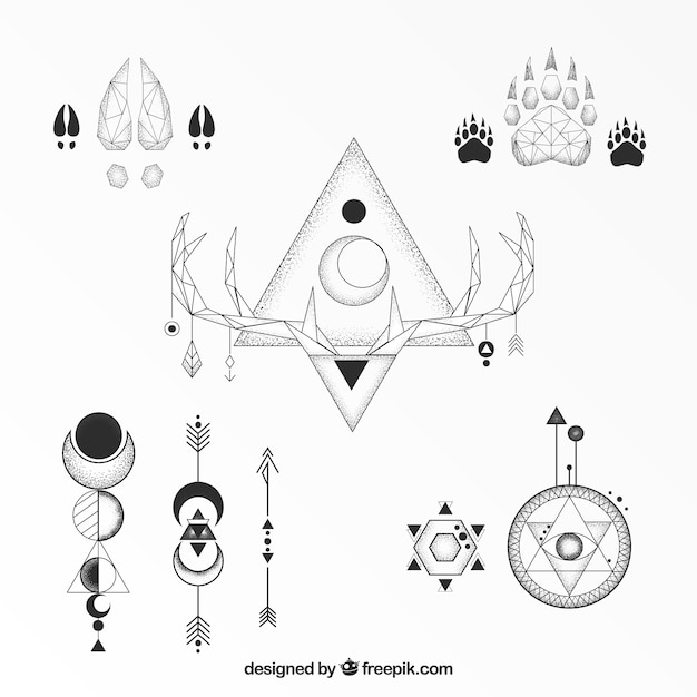 Classic Ethnic Geometric Tattoo Collection Vector Free Download
