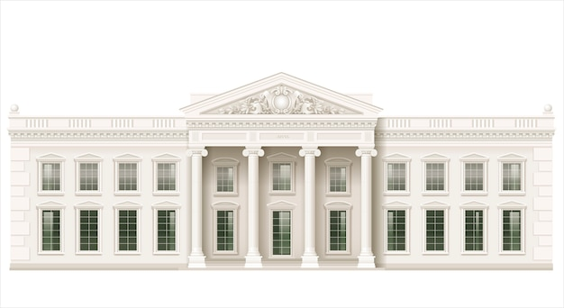 The classic facade of a public building Premium Vector