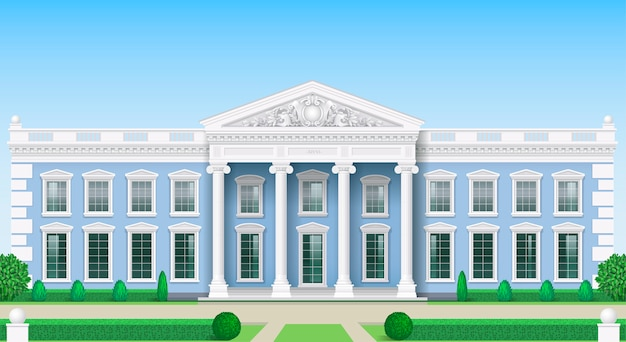 The classic facade of a public building Premium Vector