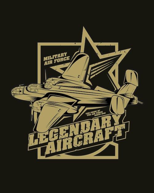 古典的な戦闘機のイラスト、伝説の航空機 Premiumベクター