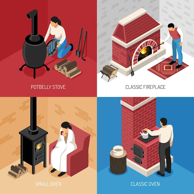 Classic fire place potbelly stove and various ovens isometric  concept isolated on colorful Free Vector