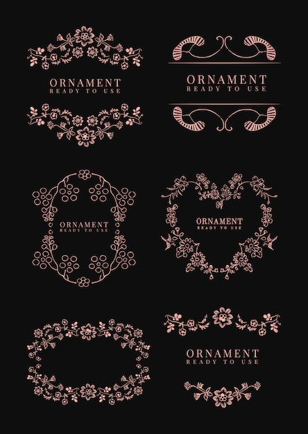 Classic floral frame set Free Vector