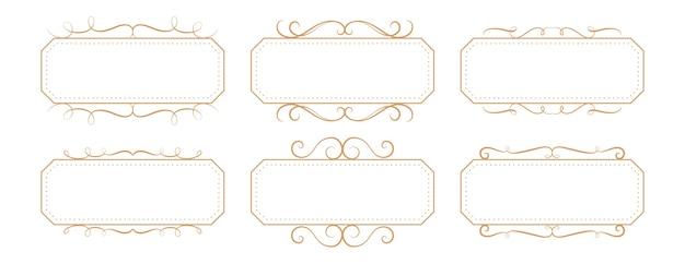 Set di scatole rettangolari con cornice vintage floreale classico Vettore gratuito
