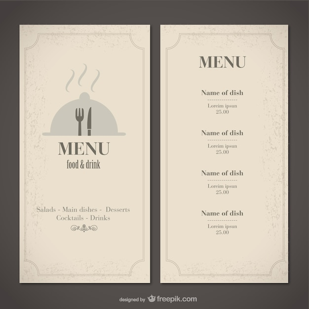 classic food menu template vector free download