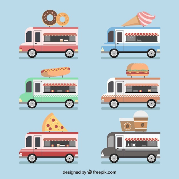 Classic food truck collection with flat design