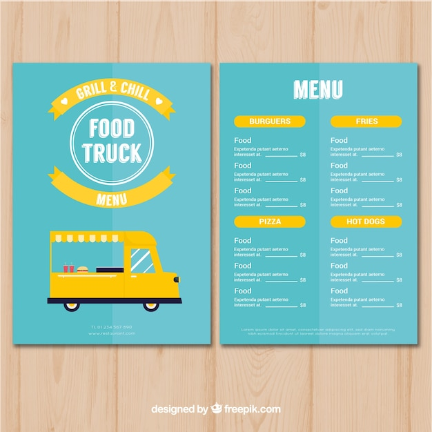 Classic food truck menu with flat design