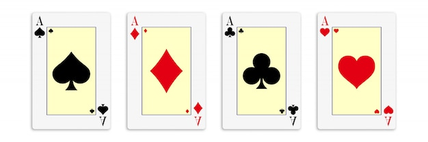 Classic four aces on white background. Premium Vector